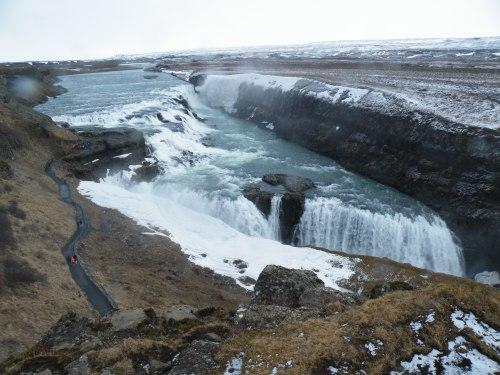 Gullfoss, Iceland's preeminent waterfall.